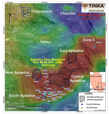 Figure 4.   Map of 2017 Ayawilca drill program on airborne RTP magnetics (red = magnetic sources) (CNW Group/Tinka Resources Limited)