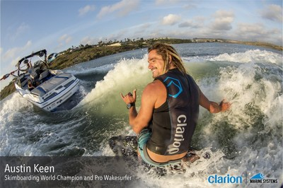 Pro wakesurfer and skimboarding world-champion, Austin Keen wakesurfing behind a wakesurf boat outfitted with Clarion Marine audio equipment. Austin Keen has been signed by Clarion as a brand ambassador for its marine-grade product line of feature-rich audio source units, speakers, amplifiers and accessories.