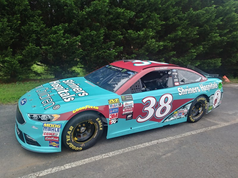 NASCAR driver David Ragan's No. 38 Front Row Motorsports Ford Fusion featuring Shriners Hospitals for Children