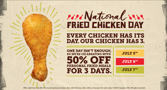 Pollo Campero Celebrates National Fried Chicken Day by Offering 50 Percent off All Personal Fried Chicken Meals