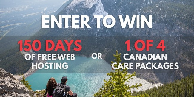 Anyone is able to enter Canadian Web Hosting's social media contest from today to July 3, 2017 at 11:59pm PDT. 4 winners will each receive a Canadian Care Package and 1 winner will receive 150 days of free hosting.
