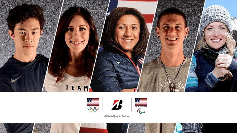 (L to R) U.S. Olympic and Paralympic hopefuls Nathan Chen, Ashley Wagner, Elana Meyers Taylor, Evan Strong and Amy Purdy join Team Bridgestone on the Road to PyeongChang.