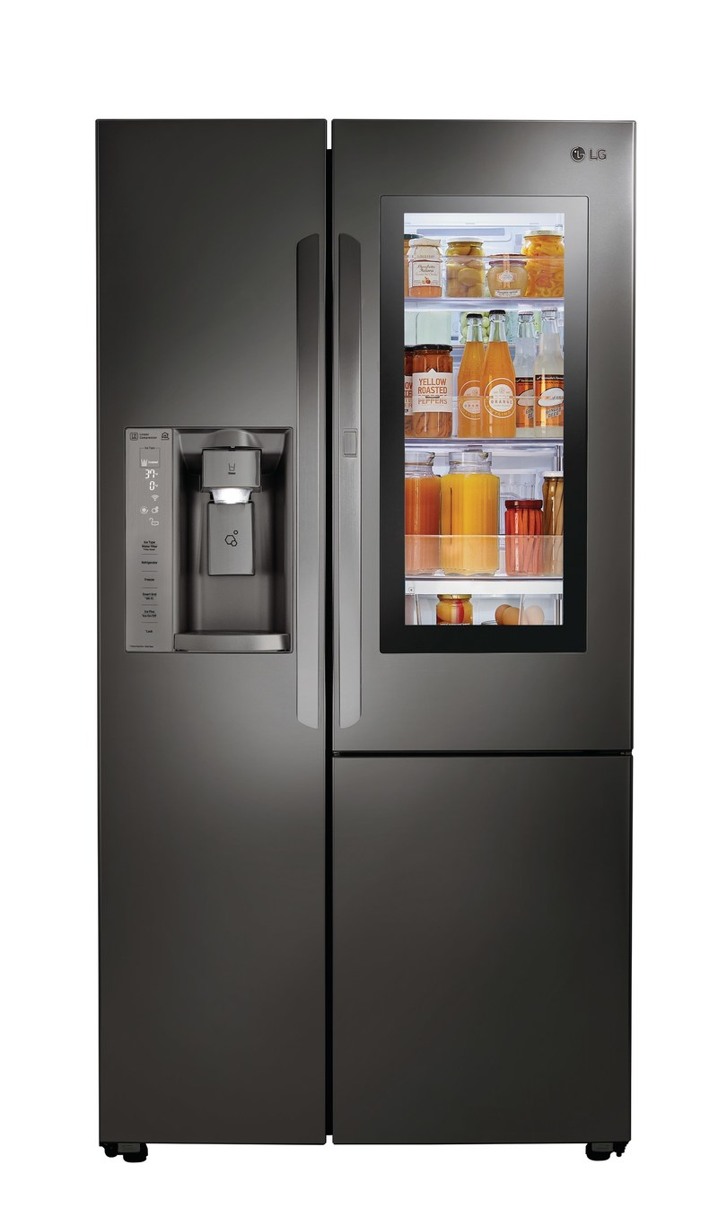 LG InstaView refrigerator – the first innovation to let users simply knock twice to illuminate the door's sleek glass panel to see what's inside without opening the refrigerator.