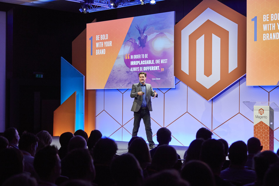 Mark Lavelle, CEO of Magento Commerce, addresses the audience during Magento Live UK on advancements across the platform.
