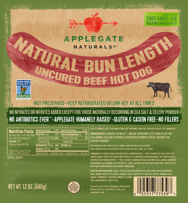 Non-GMO Project Verified Applegate Naturals Bun Length Beef Hot Dog (PRNewsfoto/Applegate)