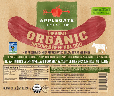 Non-GMO Project Verified Applegate Organics Great Organic Beef Hot Dog (PRNewsfoto/Applegate)