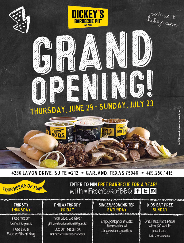 Dickey's Barbecue Pit celebrates Garland location grand opening with four weeks of specials and giveaways
