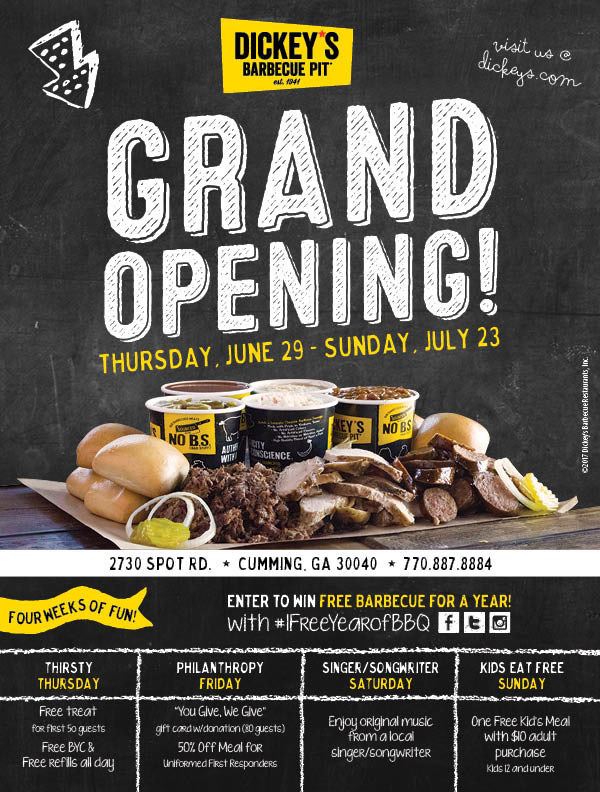 Dickey's Barbecue Pit celebrates Cumming location grand opening with four weeks of specials and giveaways