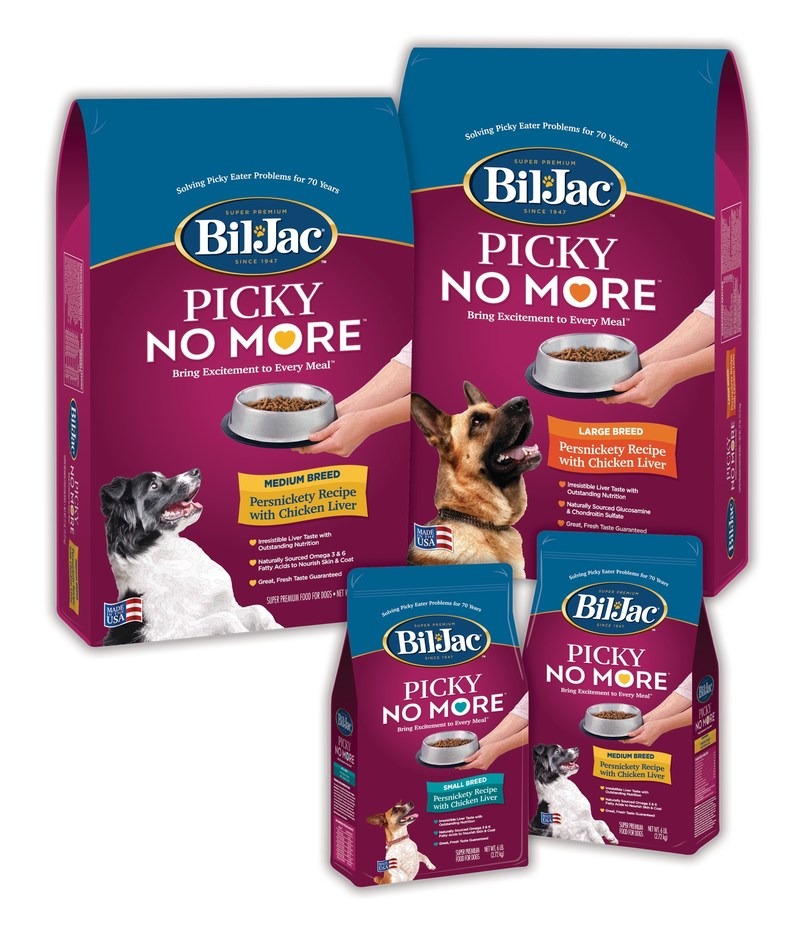 If you have a persnickety pal, we have some good news for you both.       Bil-Jac®, a family-owned and operated, leading maker of Super Premium Dog Food and Treats, has created a new dry dog food recipe called Picky No More™.  Bil-Jac set out to do what no other dry dog food has dared to do – create an irresistible, nutritional dog food formula that even the pickiest of dogs will love.