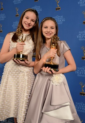 Hadley Robertson and Delaney Robertson, co-hosts of the Twice As Good Show on PBS, accept Emmys at the 40th Annual National Academy of Television Arts and Sciences Boston/New England Regional Emmy Awards Ceremony on June 24, 2017.  ©Eric_Antoniou