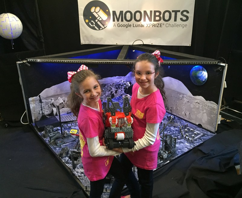 2015 Google XPRIZE Moonbots Challenge with Hadley Robertson (left) and Delaney Robertson (right).