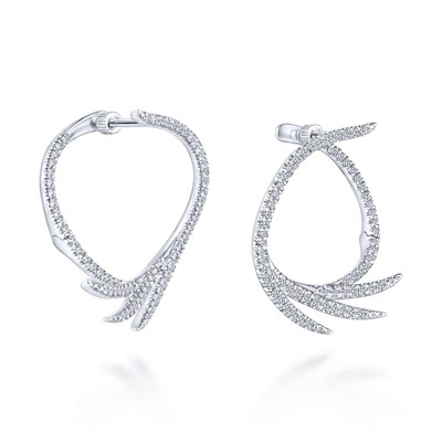 Gabriel & Co. 14k White Gold Intricate Hoop Earrings
