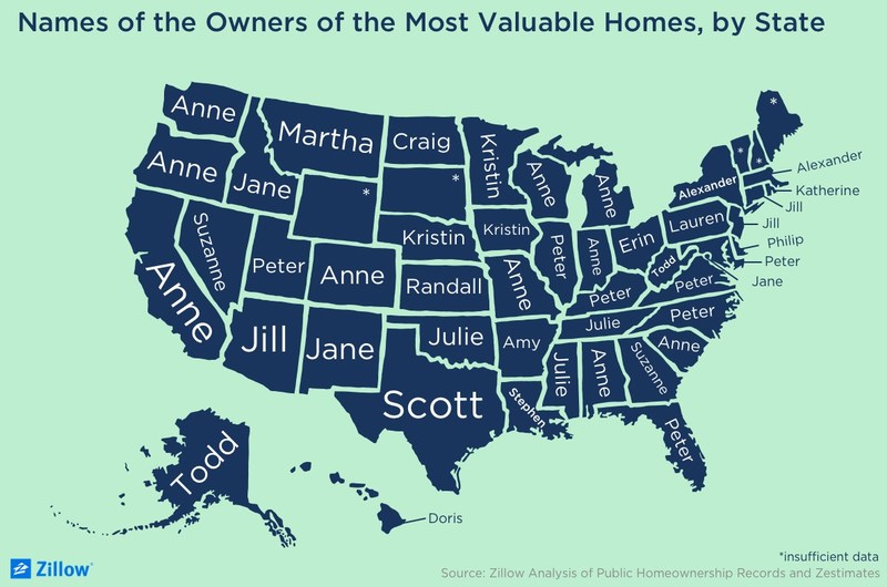 Names of the Owners of the Most Valuable Homes, by State