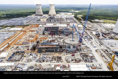 Vogtle 3 & 4 construction site, with Units 3 & 4 in the foreground, and operating units 1 & 2 in the background.