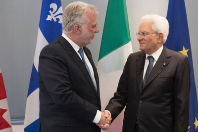Montréal, le 28 juin 2017. – Le premier ministre, Philippe Couillard, s'est entretenu avec le président de la République italienne, Son Excellence monsieur Sergio Mattarella. (Groupe CNW/Cabinet du premier ministre)