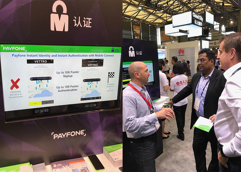 Payfone showcasing its Instant Authentication for Mobile demo at the GSMA Innovation City at Mobile World Congress Shanghai 2017.