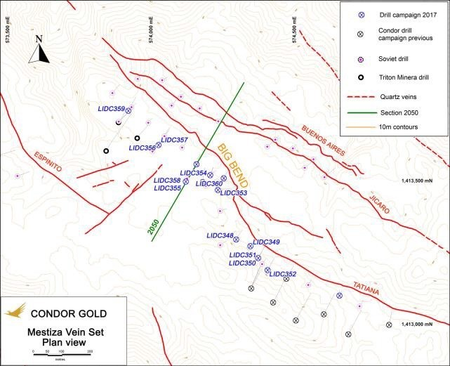 Map of Mestiza Vein Set Showing 4 Main Veins. Drilling so far is only on the Tatiana Vein (PRNewsfoto/Condor Gold plc)