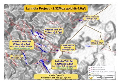 Location of 7 resources that comprise the La India Project (PRNewsfoto/Condor Gold plc)