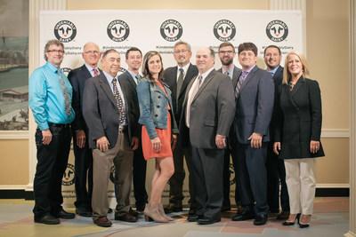 The 2017 U.S. Dairy Sustainability Award winners were announced by the Innovation Center for U.S. Dairy at a ceremony on June 28. Pictured, left to right: Louie Kazemier, Rickreall Dairy; Ken Nobis, Michigan Milk Producers Association; Dick Edwards, Oakland View Farms; Tim Rosen, Midshore Riverkeeper Conservancy; Annie Link, SwissLane Farms; Robert Hagevoort, U. S. Dairy Education & Training Consortium; Mark Keller, Kellercrest Registered Holsteins, Inc.; Lucas Fuess, Glanbia Nutritionals; Lee Kinnard, Kinnard Farms; Matt Nuckols, Emcee, Eastview Farms Inc.; Barbara O'Brien, Innovation Center for U.S. Dairy. Not pictured:  Mercer Vu Farms.