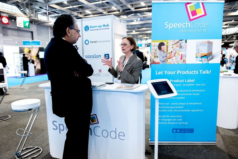 Speech Code at the Pharmapack Start-up Hub in February 2017 (PRNewsfoto/UBM EMEA)
