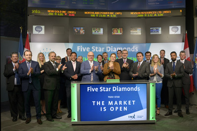 Matthew Wood, President and Chief Executive Officer, Five Star Diamonds Limited (STAR), joined Orlee Wertheim, Head Business Development, Global Mining, Toronto Stock Exchange and TSX Venture Exchange, to open the market. Five Star Diamonds is a mining company focused on acquiring and developing advanced staged diamond Projects in Brazil. The company holds 100% interest in the Catalao diamond project with one exploration license covering an area of 1,999.42 hectares located in Goiás State in the central region of Brazil. Five Star Diamonds Limited commenced trading on TSX Venture Exchange on April 25, 2017. (CNW Group/TMX Group Limited)