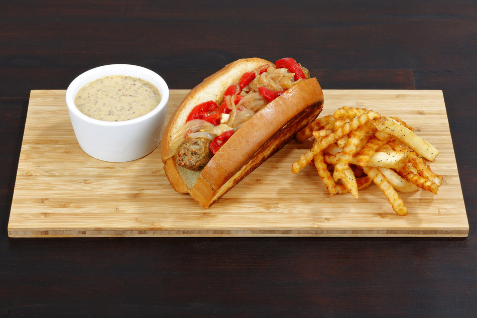 """Big Woody """"Farm Fresh Meats Robertsdale"""" Locally Crafted Chicken Sausage with Smoked Gouda Cheese and Spinach, Sweet & Spicy Mustard, Marinated Roasted Peppers and Onions, Boston Bun"""