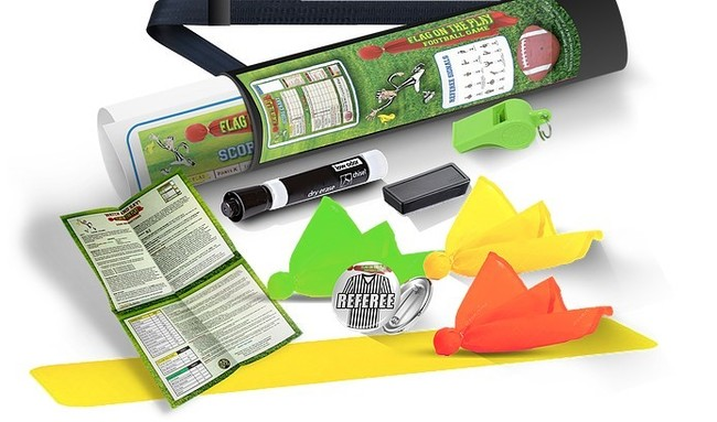 This game is also a great teaching tool. It can help your football team as a whole and/or individuals have a better understanding of positions, penalties, scoring and the terminology, but most importantly, you will have a blast! Contents include: 12 Flags - 4 YELLOW, 4 GREEN and 4 RED; Hanging Dry Erasable Score Board; Dry Eraser Marker; Dry Eraser; Referee Badge; Flag In-play Strip and Game Instructions.