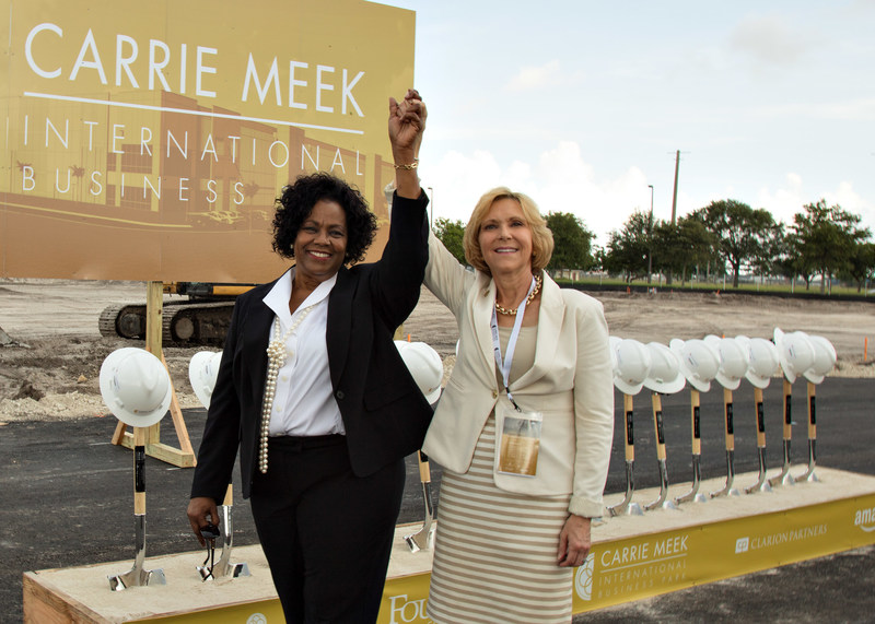 Lucia Davis Raiford (left) pictured with Jennifer Bales Drake of Becker & Poliakoff at the groundbreaking of the Carrie Meek International Park in Miami on June 29, 2017.