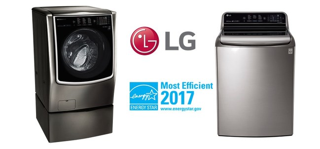 """LG washers now lead the industry with 10 new models awarded the coveted """"ENERGY STAR® Most Efficient 2017"""" distinction (for clothes washers larger than 2.5 cubic feet) from the U.S. Environmental Protection Agency (EPA)."""