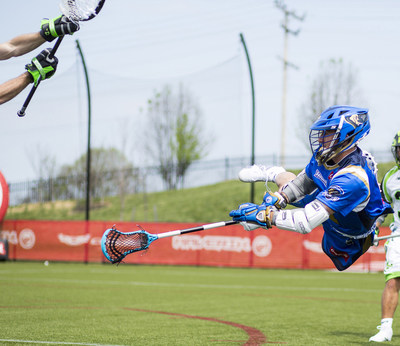 Joey Sankey, Charlotte Hounds attackman, 2015 Rookie of the year and 3-time All-American at the University of North Carolina goes airborne during a scoring shot with his new favorite Maverik head, the Kinetik.