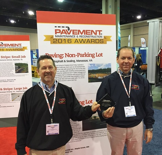 Finley is not only a Top Contractor recipient but also a previous award winner. Erick and Lewis Finley accepted the 2016 Pavement Award for Paving Non-Parking Lot presented by Pavement Maintenance and Reconstruction magazine at the 2016 National Pavement Expo.