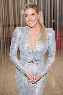 Entertainment Tonight Canada TV host, Cheryl Hickey wears one-of-a-kind Birks' Snow Flower Brooch during ...