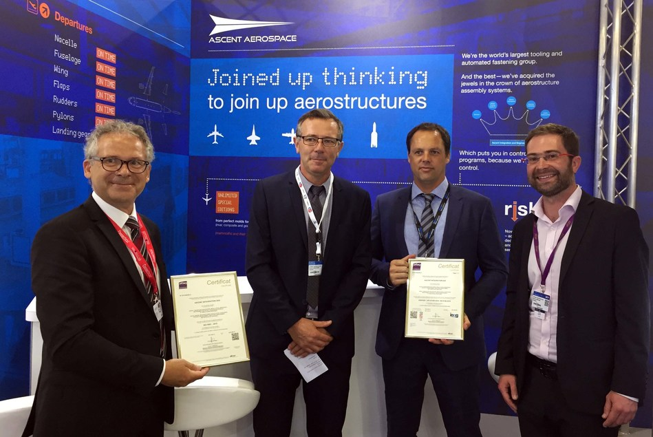 Representatives from AFNOR commemorated the achievement with a presentation of the certificate on the Ascent Aerospace stand at Le Bourget Paris Air Show.