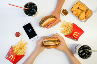 McDelivery with UberEATS is now available in 187 restaurants across Montreal, Ottawa, Toronto, Greater Toronto Area, and Edmonton allowing guests to enjoy iconic McDonald's favourites with the simple tap of a button. (CNW Group/McDonald's Canada)