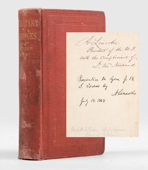 Cover of the book and inscription by Abraham Lincoln