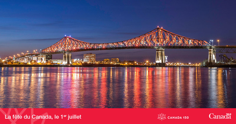 Jacques Cartier Bridge to be lit up with the Colours of Canada 150 on July 1st (CNW Group/Canadian Heritage)