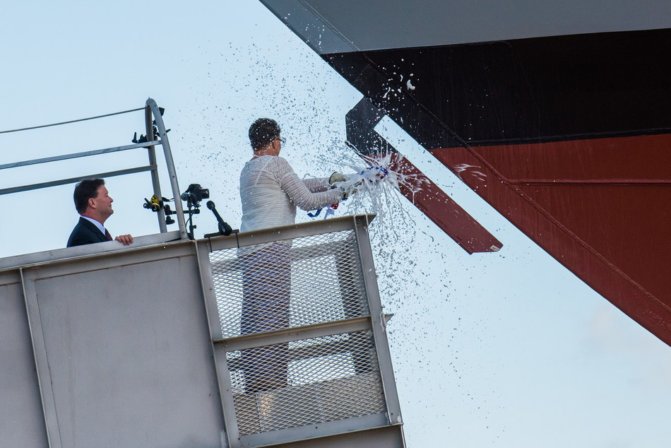 Ship sponsor Sharla D. Tester breaks a bottle of champagne across the bow during the christening ceremony for the nation's 15th Littoral Combat Ship, the future USS Billings, at the Fincantieri Marinette Marine shipyard on July 1.
