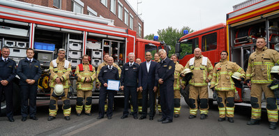 Bob Patel announces a donation of €36,000 to the Stadtfeuerwehrverband Köln (Cologne Firefighter Association) in Germany as part of the company's ongoing community relations efforts to provide support to first responders. (Front row, L-R: Achim Kessel, Principal, Cologne Volunteer Firefighters; Michael Spohr, Fire Chief Inspector,  Cologne Firefighters Association; Bob Patel, CEO, LyondellBasell; Frank Stobbe, Assistant Fire Director, Cologne City Fire Brigade.