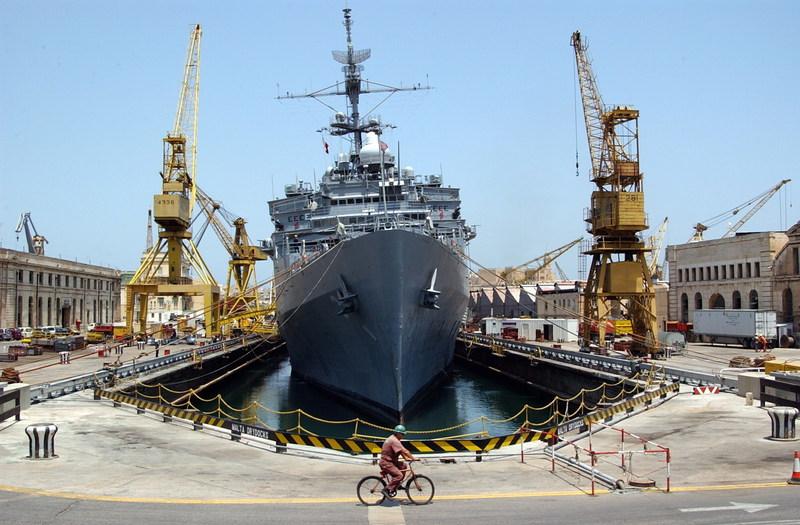 Navy Ship at Shipyard