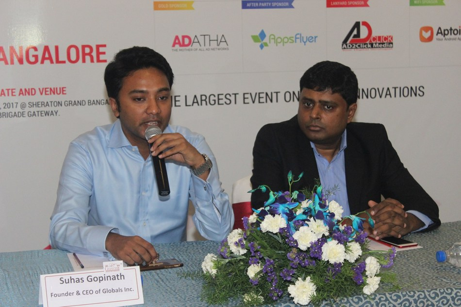 (From left) Suhas Gopinath, Chairman & CEO of Globals Inc and advisor to GMASA 2017, and C.R. Venkatesh, Chairman, GMASA, addressing the media in Bengaluru, sharing the details about the Global Mobile App Summit and Awards to be held in the city on July 6 & 7, 2017. (PRNewsfoto/Dot Com Infoway Limited)