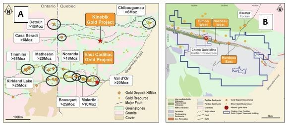 Figure 2 - East Cadillac and Kinebik Gold Project Locations (A) and detailed East Cadillac Property and Geology Map (B) (CNW Group/Chalice Gold Mines Limited)