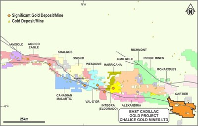 Figure 3 - East Cadillac property boundary and neighbouring landholders in the Val-d'Or region (CNW Group/Chalice Gold Mines Limited)