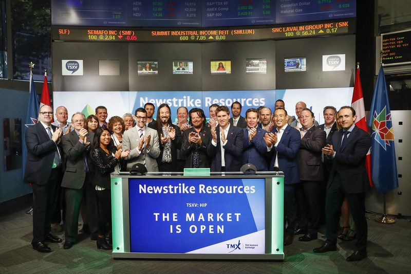 Jay Wilgar, CEO, Newstrike Resources Ltd. (HIP), joined Nick Thadaney, President and CEO, Global Equity Capital Markets, TMX Group, to open the market. Newstrike's wholly owned subsidiary, Up Cannabis, is licensed by Health Canada under the Access to Cannabis for Medical Purposes Regulations (ACMPR) to cultivate cannabis: Newstrike owns, operates or has identified a diversified network of growing platforms in Ontario. Newstrike Resources Ltd. commenced trading on TSX Venture Exchange on June 1, 2017. (CNW Group/TMX Group Limited)