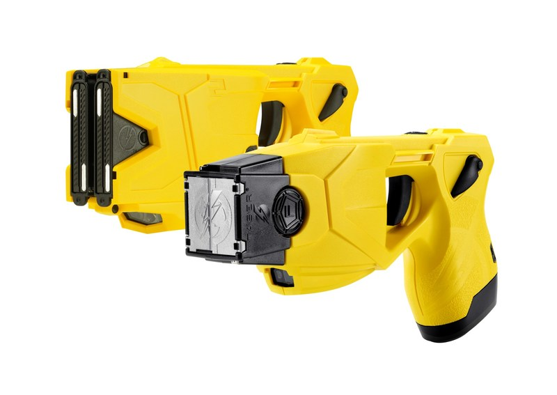 TASER(R) X2(TM) (top) and TASER X26P(TM)(below) Smart Weapons. The use of TASER weapons has saved more than 184,000 lives from potential death or serious injury. Photo courtesy of Axon, Scottsdale, AZ.