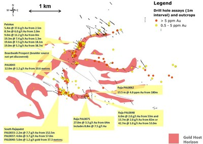 Figure 1: Plan view of the Rajapalot area (Kairamaat 2-3 lease area) showing gold host horizon and gold distribution found in diamond drill holes and outcrop (CNW Group/Mawson Resources Ltd.)