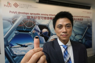 The nanocomposite sensors developed by Professor Su Zhongqing from PolyU Department of Mechanical Engineering can be sprayed directly on flat or curved engineering structures (PRNewsfoto/The Hong Kong Polytechnic Univer)