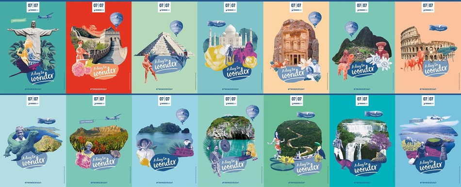 The New7Wonders poster collection that celebrates 7 Wonders Day and the Official Declaration of the New 7 Wonders of the World (PRNewsfoto/New7Wonders)