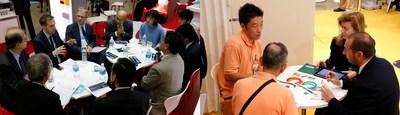 Escenas de una reunión de negocios en una exposición simultánea en 2016 (PRNewsfoto/Reed Exhibitions Japan Ltd.)