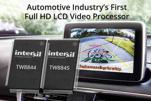 Intersil's highly integrated TW8844 instantly displays rearview camera live video. It is the industry's first full high definition LCD video processor, and provides the reliability automakers require to ensure their rearview camera systems are compliant with the U.S. Federal Motor Vehicle Safety Standard (FMVSS-111) for preventing injury or death caused by backover accidents.