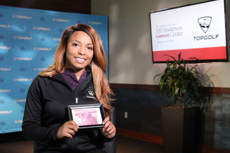 A Topgolf Associate shares her cancer story for Topgolf's End Cancer campaign with MD Anderson. (PRNewsfoto/Topgolf)